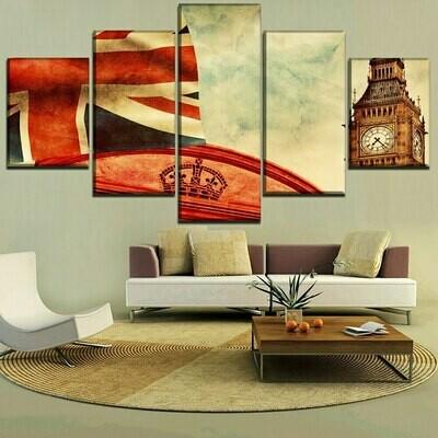British Flag And Big Ben - 5 Panel Canvas Print Wall Art Set