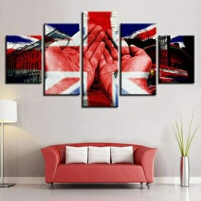 British Flag And Hand Building - 5 Panel Canvas Print Wall Art Set