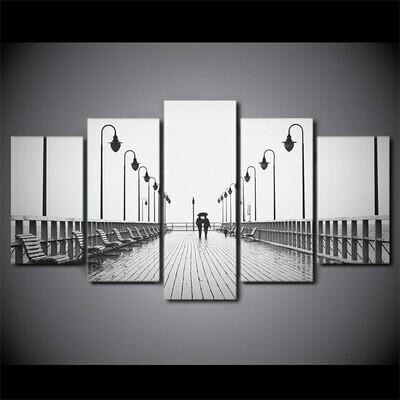 Romantic Love Picture Couple Walking Bridge - 5 Panel Canvas Print Wall Art Set