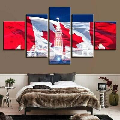 Canadian Flag - 5 Panel Canvas Print Wall Art Set
