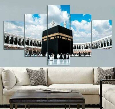 Islamic Muslim Islam Hajj Round View - 5 Panel Canvas Print Wall Art Set