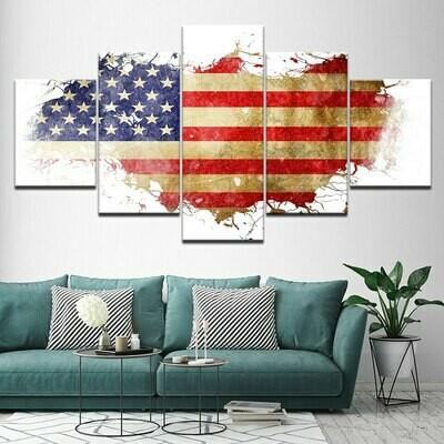 Modern American Flag - 5 Panel Canvas Print Wall Art Set
