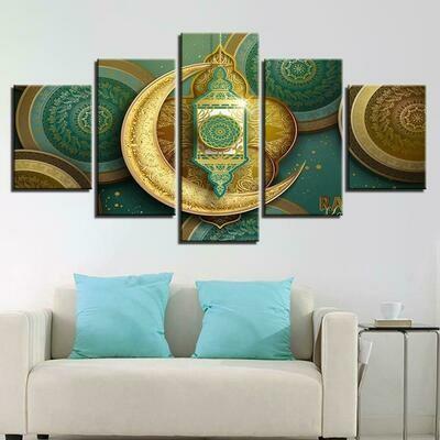 Islamic Muslim Mosque Ramadan - 5 Panel Canvas Print Wall Art Set