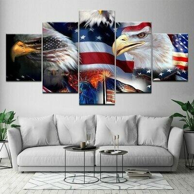 Modular American Flag Eagle - 5 Panel Canvas Print Wall Art Set