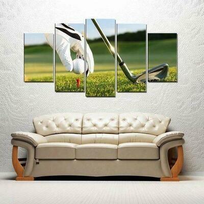 Golf Ball - 5 Panel Canvas Print Wall Art Set
