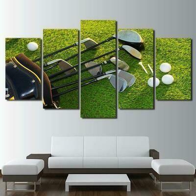 Golf Clubs - 5 Panel Canvas Print Wall Art Set