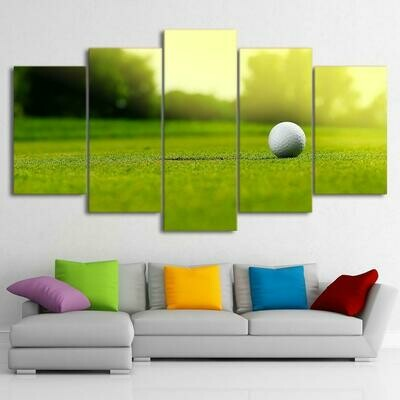 Golf Course Ball - 5 Panel Canvas Print Wall Art Set