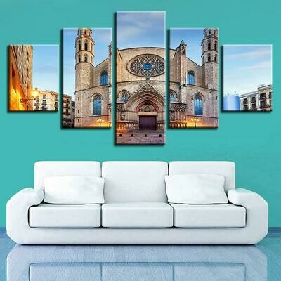 Picture Islamic Muslim Mosque - 5 Panel Canvas Print Wall Art Set