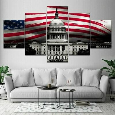 USA Flag White House - 5 Panel Canvas Print Wall Art Set