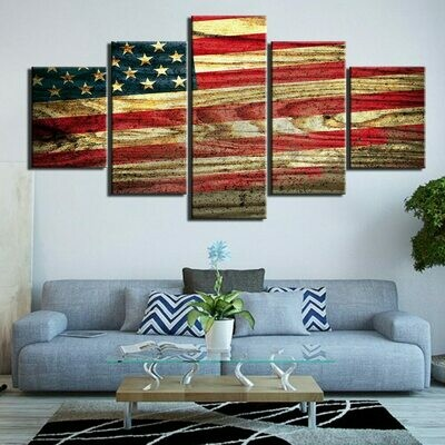 Vintage US National Flag - 5 Panel Canvas Print Wall Art Set