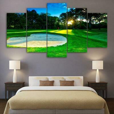 Golf Course Sunrise - 5 Panel Canvas Print Wall Art Set