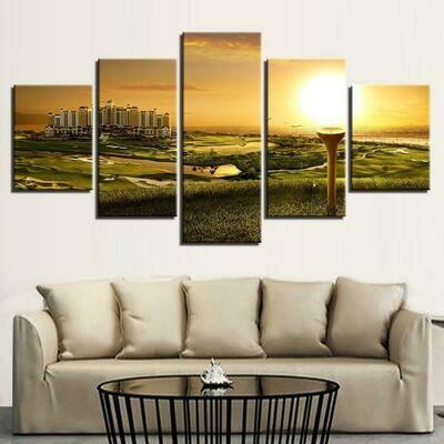 Golf Course Sunset Landscape - 5 Panel Canvas Print Wall Art Set