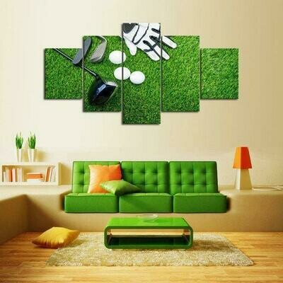 Golf Green - 5 Panel Canvas Print Wall Art Set