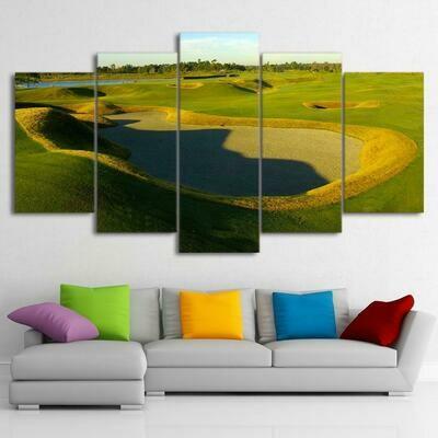 Golf Hole - 5 Panel Canvas Print Wall Art Set