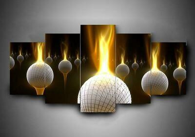 Golf In Fire - 5 Panel Canvas Print Wall Art Set