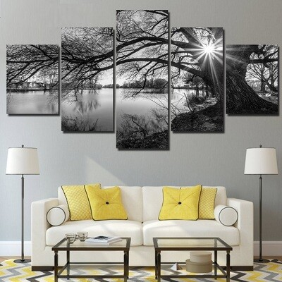 Black White Painting Tree River - 5 Panel Canvas Print Wall Art Set