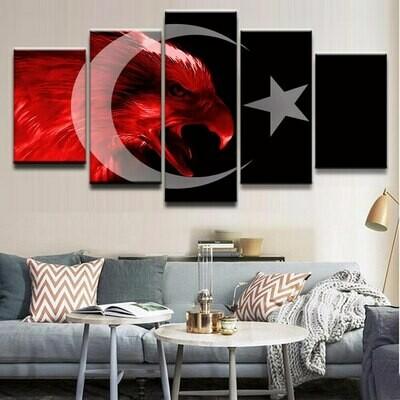 Flag Of Turkey - 5 Panel Canvas Print Wall Art Set