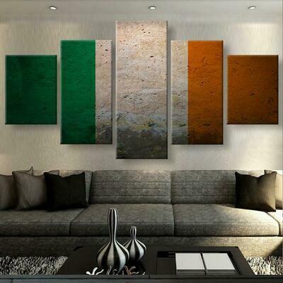 Irish Pride Flag - 5 Panel Canvas Print Wall Art Set