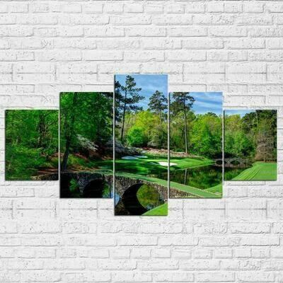 Augusta Masters Golf Golfing Course - 5 Panel Canvas Print Wall Art Set