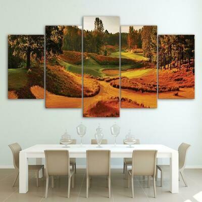 Autumn Golf Course - 5 Panel Canvas Print Wall Art Set