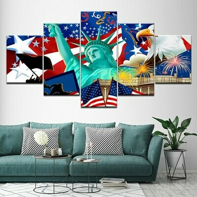 Statue Of Liberty American Flag - 5 Panel Canvas Print Wall Art Set