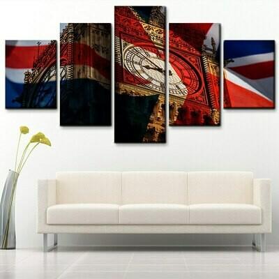 UK Flag And Big Ben - 5 Panel Canvas Print Wall Art Set