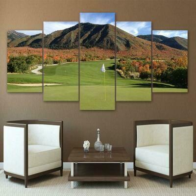 Golf Course Mountain - 5 Panel Canvas Print Wall Art Set