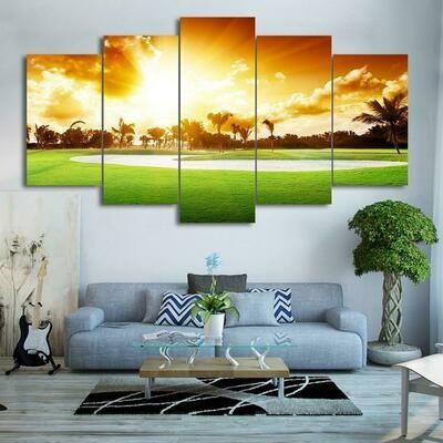Golf Course Sunset - 5 Panel Canvas Print Wall Art Set