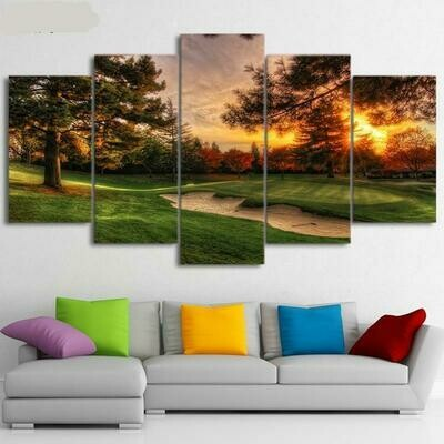 Golf Course Sunset View - 5 Panel Canvas Print Wall Art Set