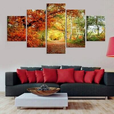 Autumn Falling Leaves Trees - 5 Panel Canvas Print Wall Art Set