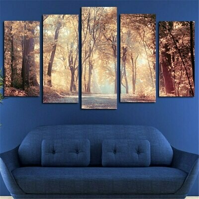 Autumn Leaves Tree - 5 Panel Canvas Print Wall Art Set