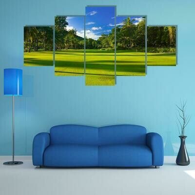 Golf Field At Island - 5 Panel Canvas Print Wall Art Set