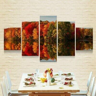 Autumn's Trees - 5 Panel Canvas Print Wall Art Set