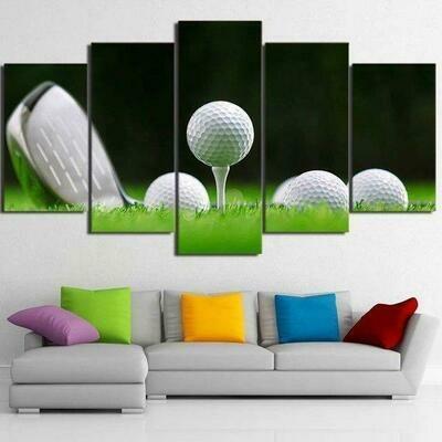 Golf Green Grass - 5 Panel Canvas Print Wall Art Set