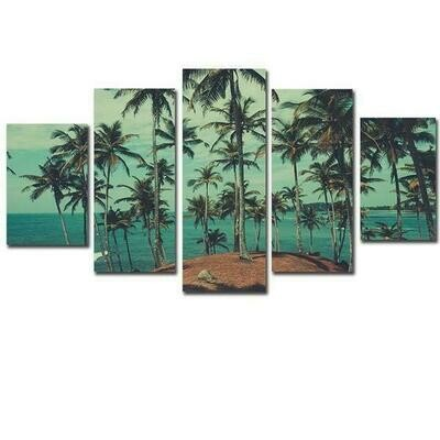 Beach Palm Trees Island - 5 Panel Canvas Print Wall Art Set