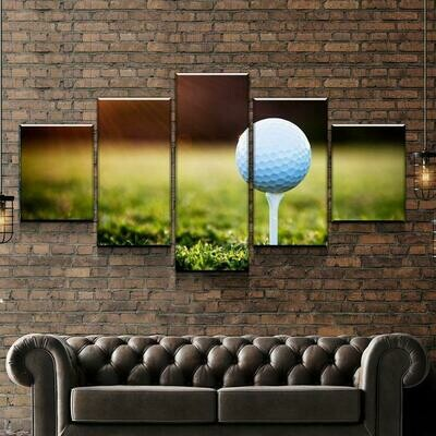 Golf Sunset - 5 Panel Canvas Print Wall Art Set