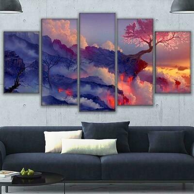 Blossoms Cherry Tree In Lava Volcano - 5 Panel Canvas Print Wall Art Set