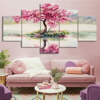 Cherry Blossoms Tree - 5 Panel Canvas Print Wall Art Set