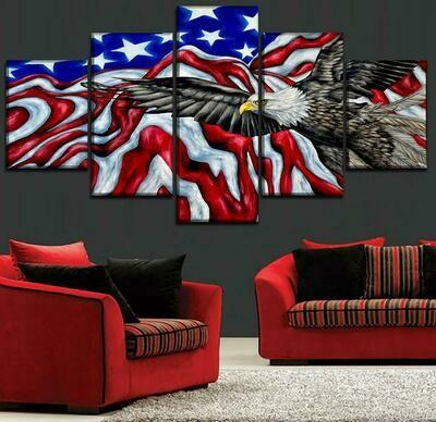 National Flag Abstract - 5 Panel Canvas Print Wall Art Set