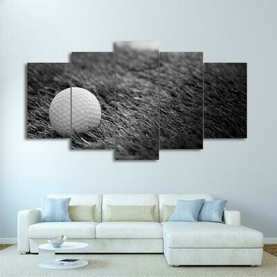 Golf Ball in Grass Black And White - 5 Panel Canvas Print Wall Art Set