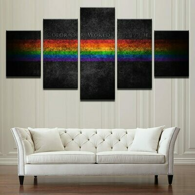 Rainbow Flag - 5 Panel Canvas Print Wall Art Set