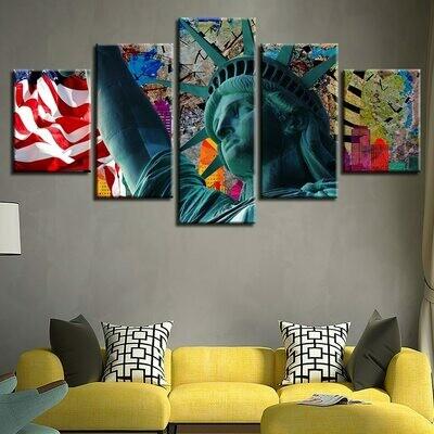 Statue Of Liberty And American Flag - 5 Panel Canvas Print Wall Art Set