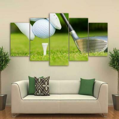 Golf Ready For Kickoff - 5 Panel Canvas Print Wall Art Set