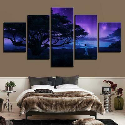 Black Panther Modular Tree - 5 Panel Canvas Print Wall Art Set