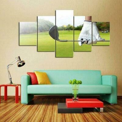 Golf Sunshine - 5 Panel Canvas Print Wall Art Set