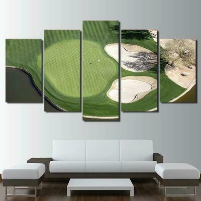 Green Field Golf Course - 5 Panel Canvas Print Wall Art Set