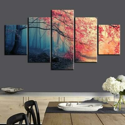 Cherry Blossoms Red Tree - 5 Panel Canvas Print Wall Art Set