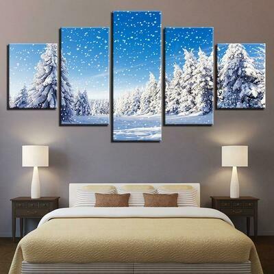 Christmas Pine Trees Snowing - 5 Panel Canvas Print Wall Art Set