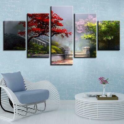 Colors Tree - 5 Panel Canvas Print Wall Art Set