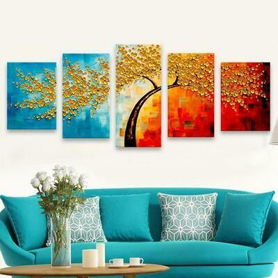 Five Oil Painting Tree - 5 Panel Canvas Print Wall Art Set